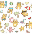 summer cat seamless pattern background vector image