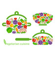 symbols of preparation vegetarian food vector image