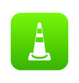 traffic cone icon digital green vector image
