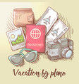 vacation plane travel around world vector image vector image