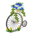 Vintage bicycle decorated with flowers vector image vector image