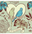 Vintage Valentines Love Birds Card vector image