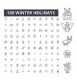 winter holidays editable line icons 100 vector image vector image