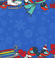 Winter seamless border with bullfinches and sleds vector image vector image