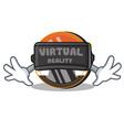 with virtual reality monero coin character cartoon vector image