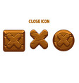 wooden brown buttons or icons close for interface vector image vector image