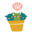 yay cactus cats vector image vector image