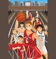 young men playing basketball vector image vector image