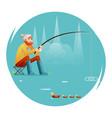 fishing adult fisherman with fishing rod birds vector image