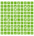 100 taxi icons set grunge green vector image vector image