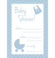 Baby shower blue card or invitation vector image