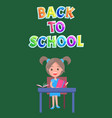 back to school postcard or flyer with schoolgirl vector image vector image