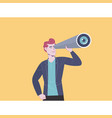 business man looks through a telescope business vector image vector image