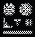 Celtic knots patterns in white on black background vector image vector image