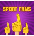 color sport fans foam fingers on the retro vector image vector image