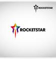 colorful rainbow rocket star logo symbol vector image vector image