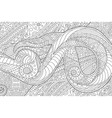 coloring book page with waving abstract pattern vector image vector image