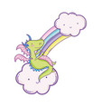 cute dragon on clouds cartoons vector image