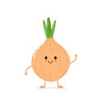 cute smiling bow onion character vector image vector image