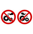 do not lubricate oil icon gear cogwheels with vector image