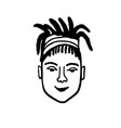 doodle sketch girl with dreadlocks vector image vector image
