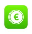 euro coins icon digital green vector image