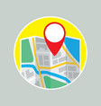folding map with gps label flat icon vector image vector image