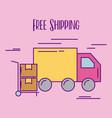 free shipping truck delivery hand cart cardboard vector image