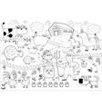 Funny farm family in black and white vector image