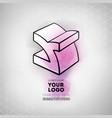 geometric figure cube logo design vector image