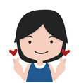 girl making mini heart symbol vector image vector image