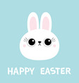 happy easter white bunny rabbit hare face head vector image vector image