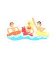 happy three friends have fun with swim rubber vector image vector image