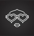 heart shape glasses face thin line on black vector image