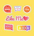 like me and followers information set vector image vector image
