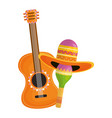 maraca with mexican hat and guitar vector image