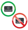 Mediaplayer permission signs set vector image vector image