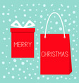 merry christmas red gift box with ribbon bow vector image