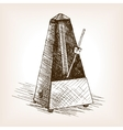Metronome hand drawn sketch vector image