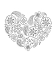 monochrome heart shape with mehendi flowers and vector image vector image
