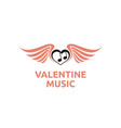 music notes wings heart valentine love song logo vector image