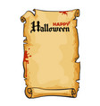old paper scroll text happy halloween in gothic vector image