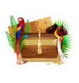 old wooden pirate chest realistic composition vector image