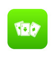 playing cards icon digital green vector image vector image
