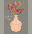 postcard with an autumn bouquet in a vase vector image