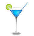 refreshing blue cocktail vector image vector image