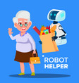 robot helper carrying cart with products of vector image