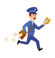 running mailman hurries to deliver mails vector image vector image