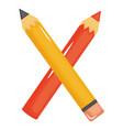 school pencil supply isolated icon vector image vector image