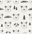seamless pattern with bear heads vector image vector image